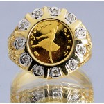 RUSSIA .999 GOLD COIN 1993 10 RUBLE BALLERINA COIN  in 14KT DIAMOND RING .16 ct.