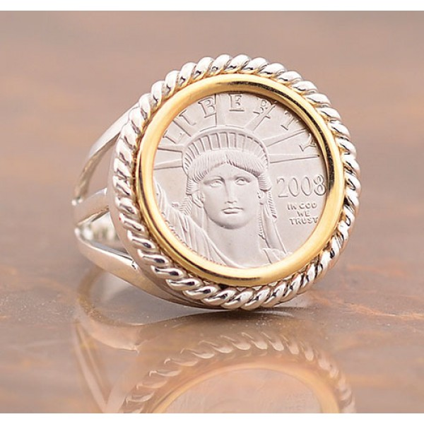 U.S.  Platinum Eagle Coin set in Ladies two-tone Sterling Silver and 14kt Yellow Gold Ring