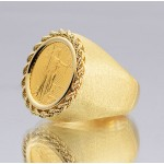 14kt Gold Gents Hand-Made Rope Top Coin Ring with U.S. 1/10 Eagle Gold Coin
