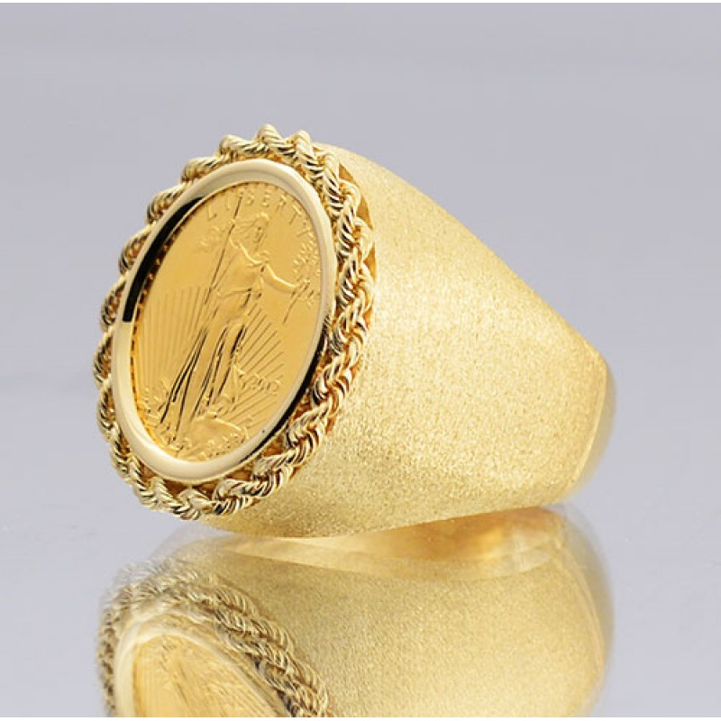 14kt Gold Gents Hand Made Rope Top Coin Ring With U S 1