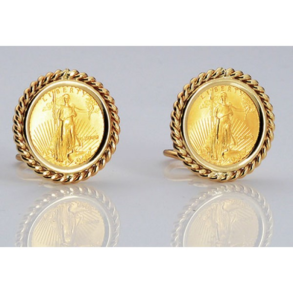 14kt Gold Earrings With U S 1 10 Oz Eagle Gold Coin