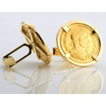 18kt Gold Cufflinks with Ancient Roman Gold Solidus Gold Coins Valentinian I circa A.D. 364-375