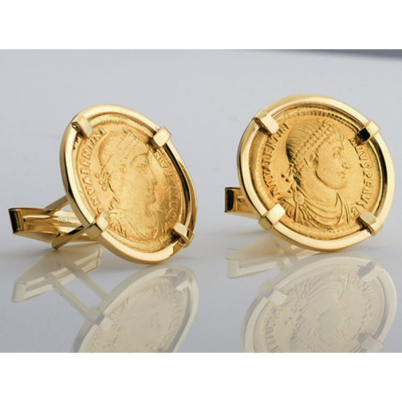 18kt Gold Cufflinks with Ancient Roman Gold Solidus Gold Coins Valentinian  I circa A D  364-375