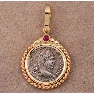 Ancient Roman Silver Denarius Caracalla circa A.D. 198-217 in 14kt Gold Pendant with Ruby