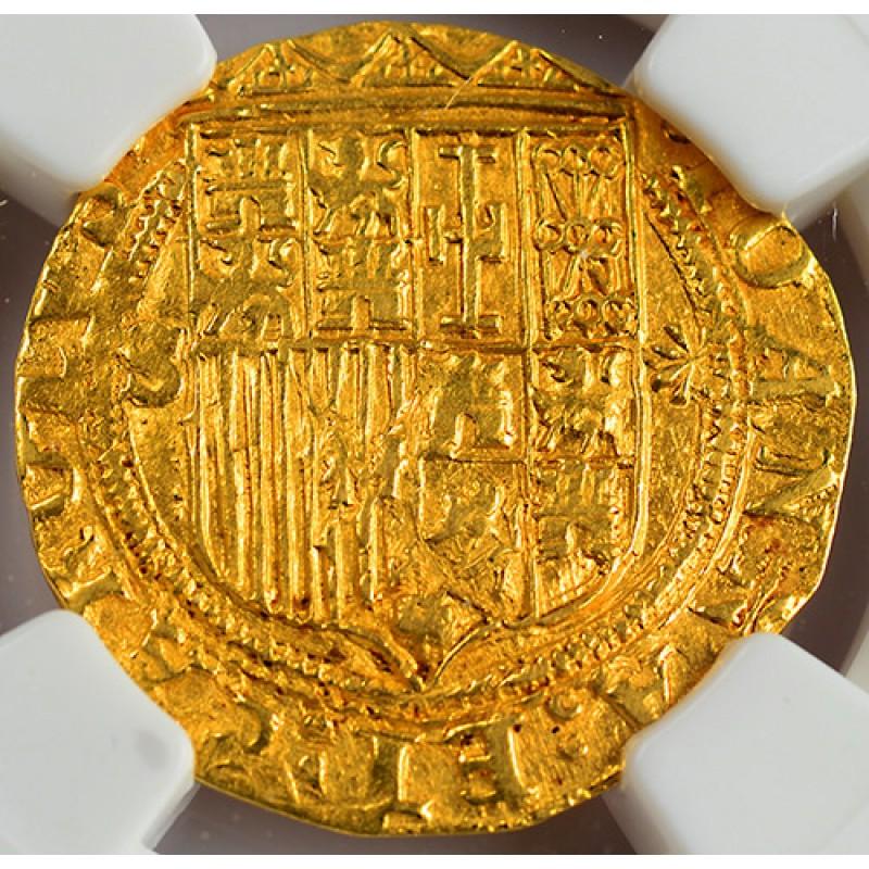 ngc au58 spanish gold one escudo gold coin circa 15161556