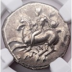 NGC XF Ancient Greek Boy on Dolphin Silver Didrachm Coin