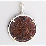 CILICIAN ARMENIAN BRONZE COIN of KING HETOUM A.D. 1226-1270 in STERLING SILVER & 14KT GOLD PENDANT