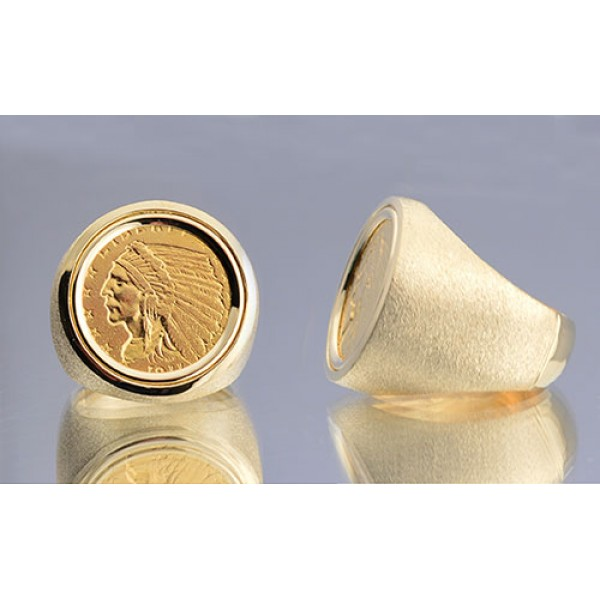 U.S. $2 1/2 Indian Head Gold Coin in Gents 14kt Gold Coin Ring