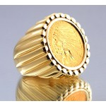 U.S. $5 Indian Head Gold Coin in gent's fluted Design 14kt gold Ring