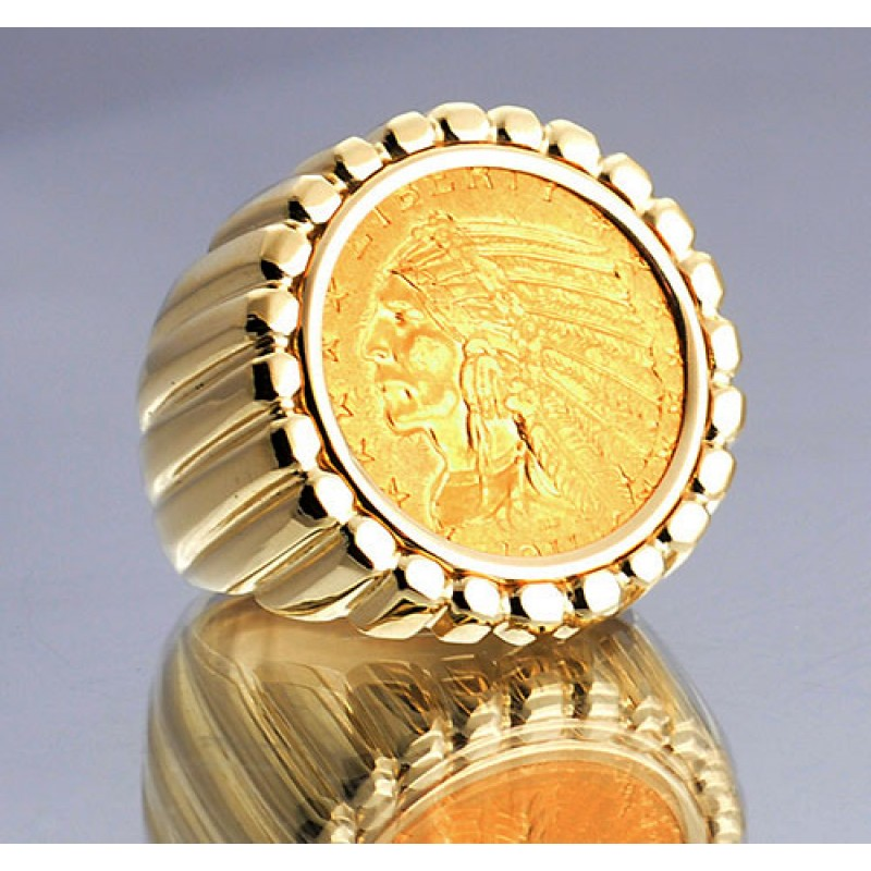 U S $5 Indian Head Gold Coin in gent s fluted Design 14kt gold Ring