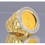U.S. $2 1/2 Indian Head Gold Coin in Gents 14kt Gold Nugget Style Diamond Coin Ring