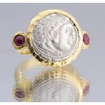 Alexander the Great Silver Drachm Coin in Designer 18kt Gold Ring with Rubies