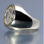 PURE SILVER AMERICAN QUARTER HORSE COIN  in STERLING SILVER & 14KT GOLD GENTS RING