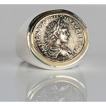Ancient Roman Denarius in 14kt Gold and Sterling Silver Coin Ring  A.D. 198-217 Caracalla