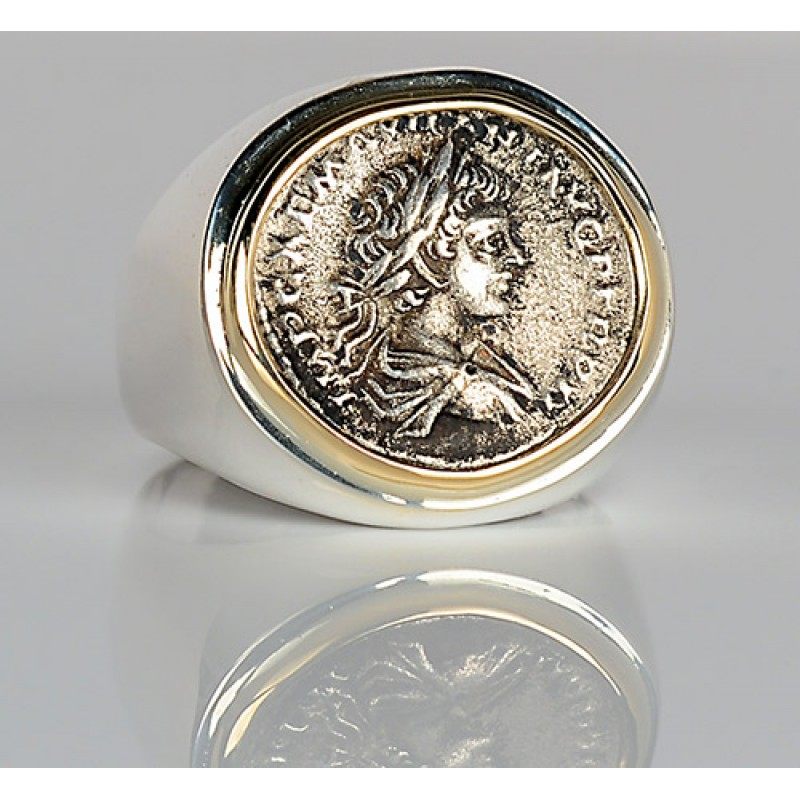 31d4ddc80506 Ancient Roman Denarius in 14kt Gold and Sterling Silver Coin Ring A.D.  198-217 Caracalla