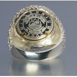 PURE SILVER AMERICAN QUARTER HORSE COIN  in STERLING SILVER & 14KT GOLD NUGGET GENTS RING