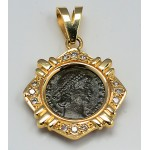 Ancient Roman Bronze coin Constantius II A.D. 336-361 in 14kt Gold .25 ct. Diamond Pendant