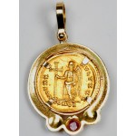 Roman Gold Coin in 18kt Gold Pendant