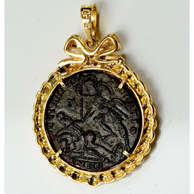 gold pendant roman coin in diamond silver