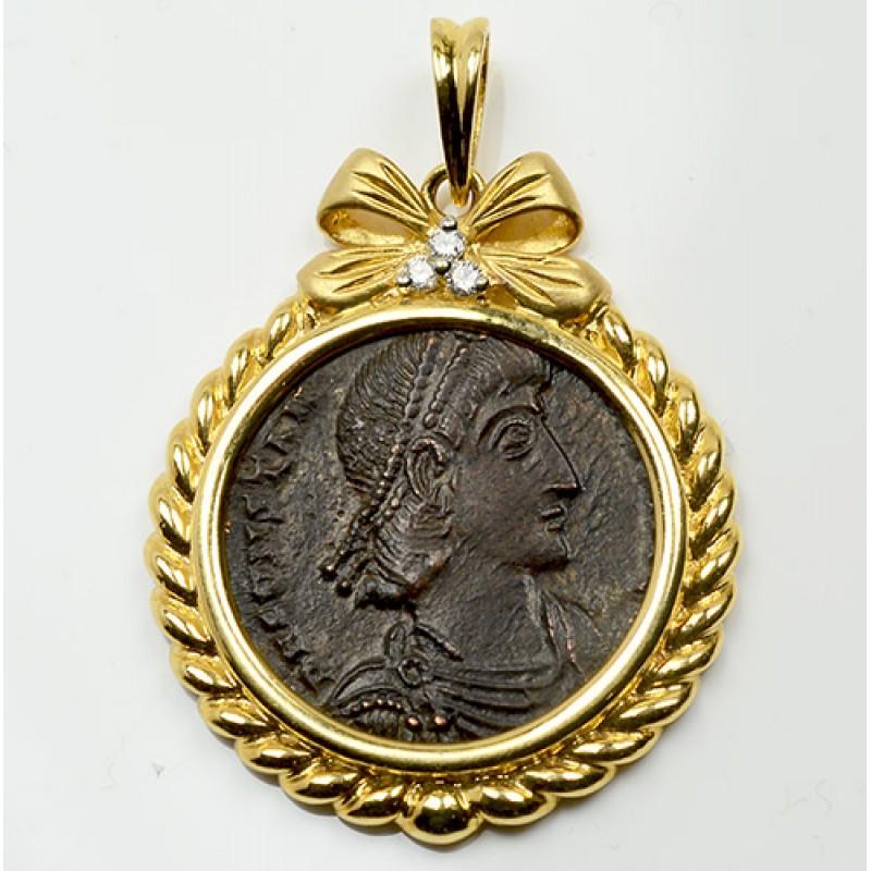 ancient roman bronze coin constantius ii a d 336 361 in 18kt gold