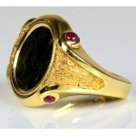 14kt Gold with Rubies Roman Coin Ring