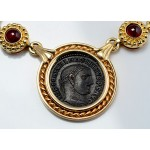 Ancient Roman Maximianus Bronze Coin (A.D.286-305) in  Spectacular 14kt Gold Necklace