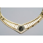 "STUNNING ""CLEOPATRA"" STYLE 14kt GOLD & DIAMOND NECKLACE with ROMAN BRONZE COIN"