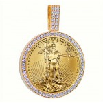 14KT GOLD DIAMOND PENDANT to fit U.S. 1 oz. Eagle 1.10 cts. (coin excluded)