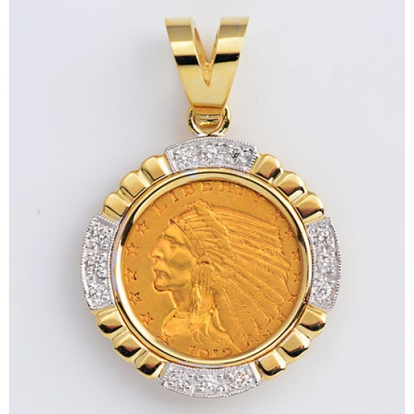 14KT GOLD DIAMOND PENDANT to fit U.S. $2 1/2 Gold Coin .22 cts. (coin excluded)