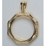14KT GOLD DIAMOND PENDANT to fit U.S. $20 Gold Coin 4.17 cts. (coin excluded)