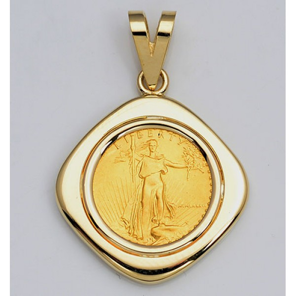 14KT GOLD  PENDANT with U.S. 1/10 oz. Eagle Gold Coin  (coin included)