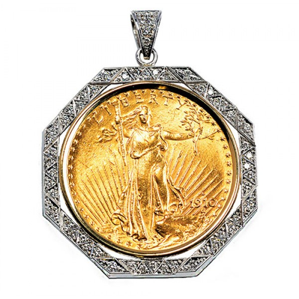 14KT GOLD DIAMOND PENDANT to fit U.S. $20 Gold Coin 1.00 cts. (coin excluded)