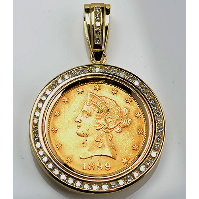 united states store pendant gold necklace coin
