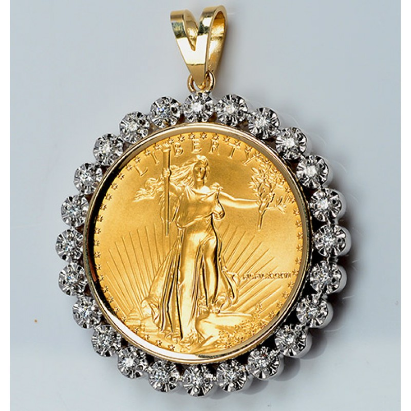 Gold diamond pendant us 1 oz eagle gold coin 100 cts coin 14kt gold diamond pendant us 1 oz eagle gold coin 100 cts coin excluded aloadofball Image collections