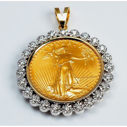 14kt Gold Diamond Pendant U S 1 Oz Eagle Gold Coin 1 00