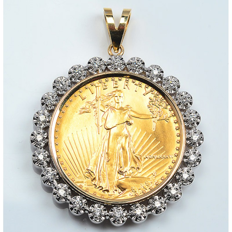 14kt Gold Diamond Pendant U S 1 Oz Eagle Gold Coin 1 00