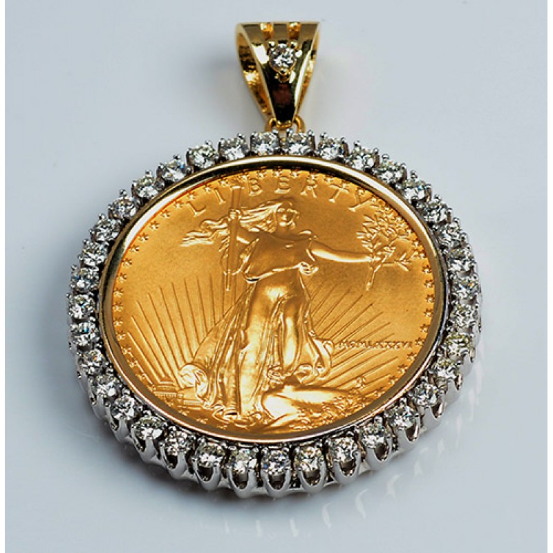 14kt Gold Diamond Pendant U S 1 Oz Eagle Gold Coin 2 55
