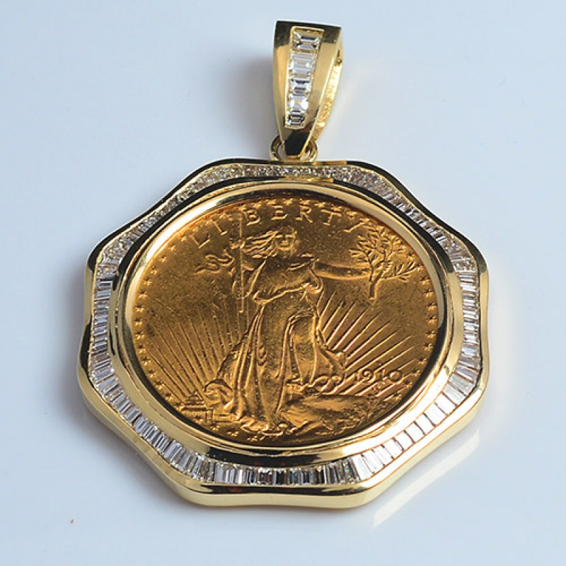 14kt Gold Diamond Pendant To Fit U S 20 Gold Coin 4 17