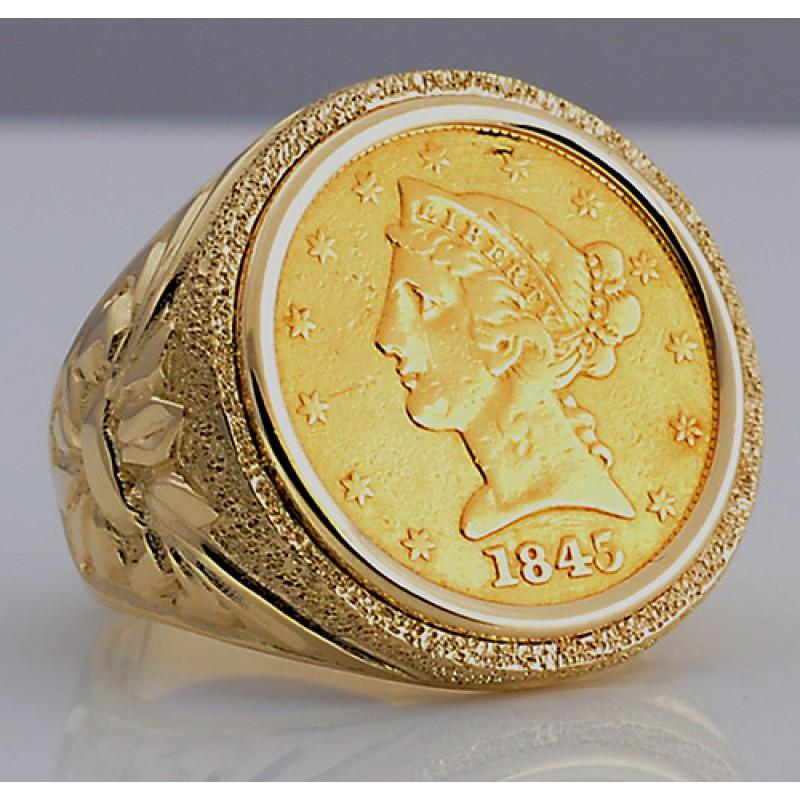 U S 5 Liberty Head Gold Coin In Man S Designer 14kt Gold