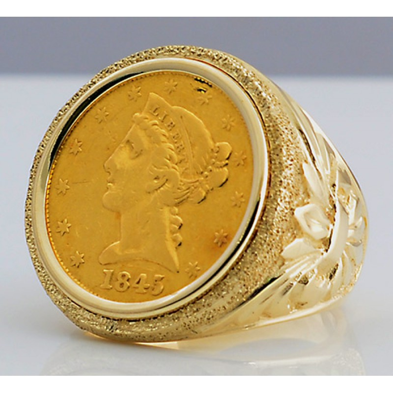 U S 5 Liberty Head Gold Coin In Man S Designer 14kt Gold Ring
