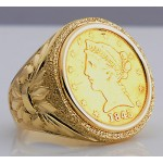 U.S. $5 Liberty Head Gold Coin in Man's Designer 14kt gold Ring