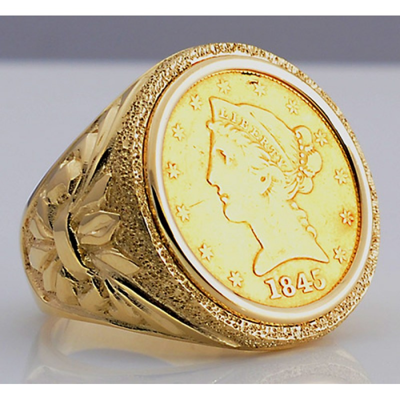 Very U.S. $5 Liberty Head Gold Coin in Man's Designer 14kt gold Ring IO72