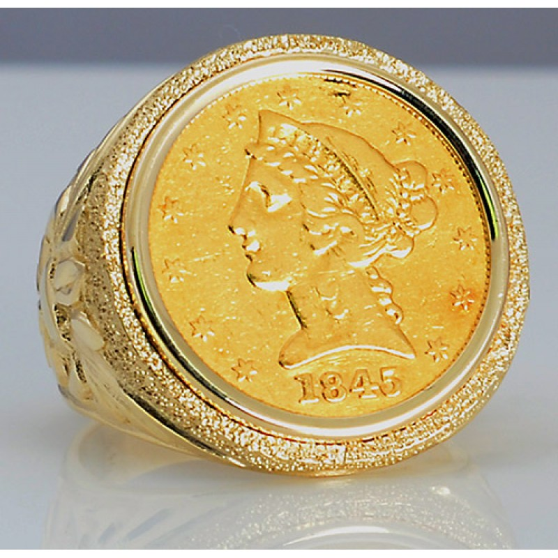 $5 Liberty Head Gold Coin in Man\'s Designer 14kt gold Ring