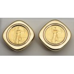 14KT GOLD  earrings with U.S. 1/10 oz. Eagle Gold Coin  (coin included)