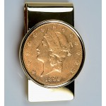 14KT Gold Money Clip with U.S. $20 Gold Liberty Coin 1800's