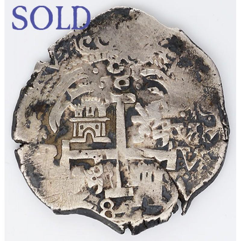 8 Reales Silver Treasure Cob Coin W Three Visible Dates 1682 Minted In Potosi Bolivia