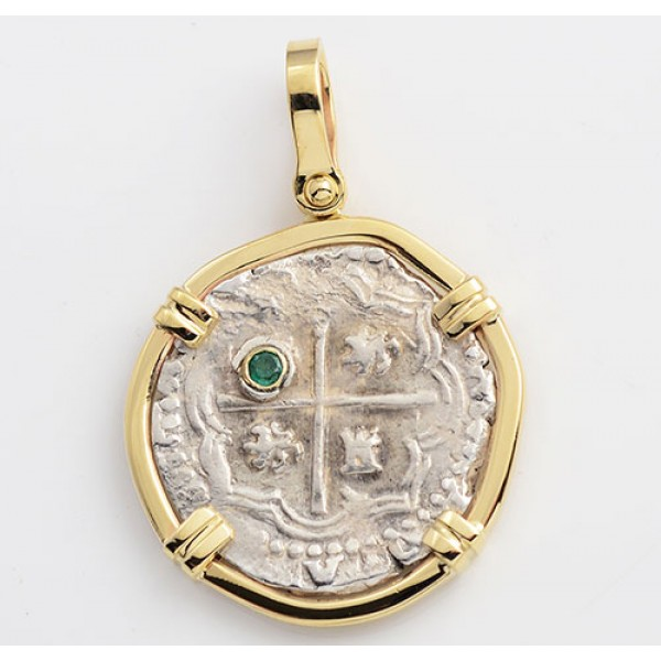 Authentic 1 Reale Treasure Cob Coin in 14kt Gold with Emerald  Pendant circa 1556-1598
