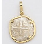 AUTHENTIC 2 Reales Shipwreck Treasure Princess Louisa Cob Coin in Solid 14KT GOLD  Pendant circa 1700's
