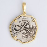 2 Reales Treasure Cob Coin in Solid 14kt Gold  Pendant Visible Date of 1694
