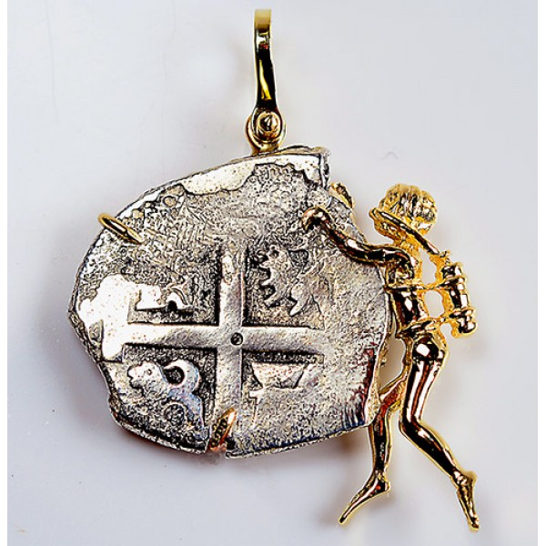 Princess Louisa Treasure Coin in Solid 14kt Gold Scuba Diver Pendant Dated 1739